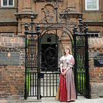 Loyal maiden awaiting the arrival of King Charles II outside Restoration House (4)