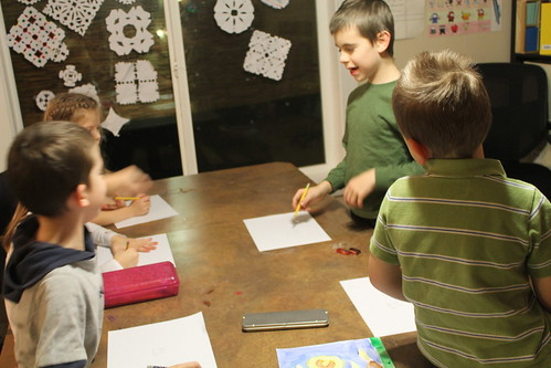 Aidan teaching the other kids how to draw 3D shapes :)