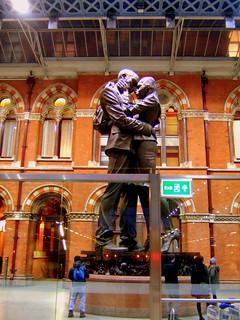 The Kiss, St Pancras Train Station, London.