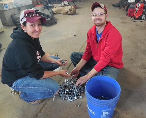 Ashley and James sorting bolts