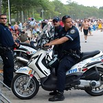 PBBXs NYPD Police Scooter Officers, Orchard Beach, Bronx, New York City