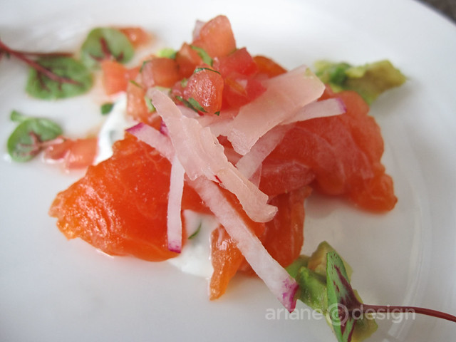 Salmon crudo with radish, avocado, confit tomato, ginger