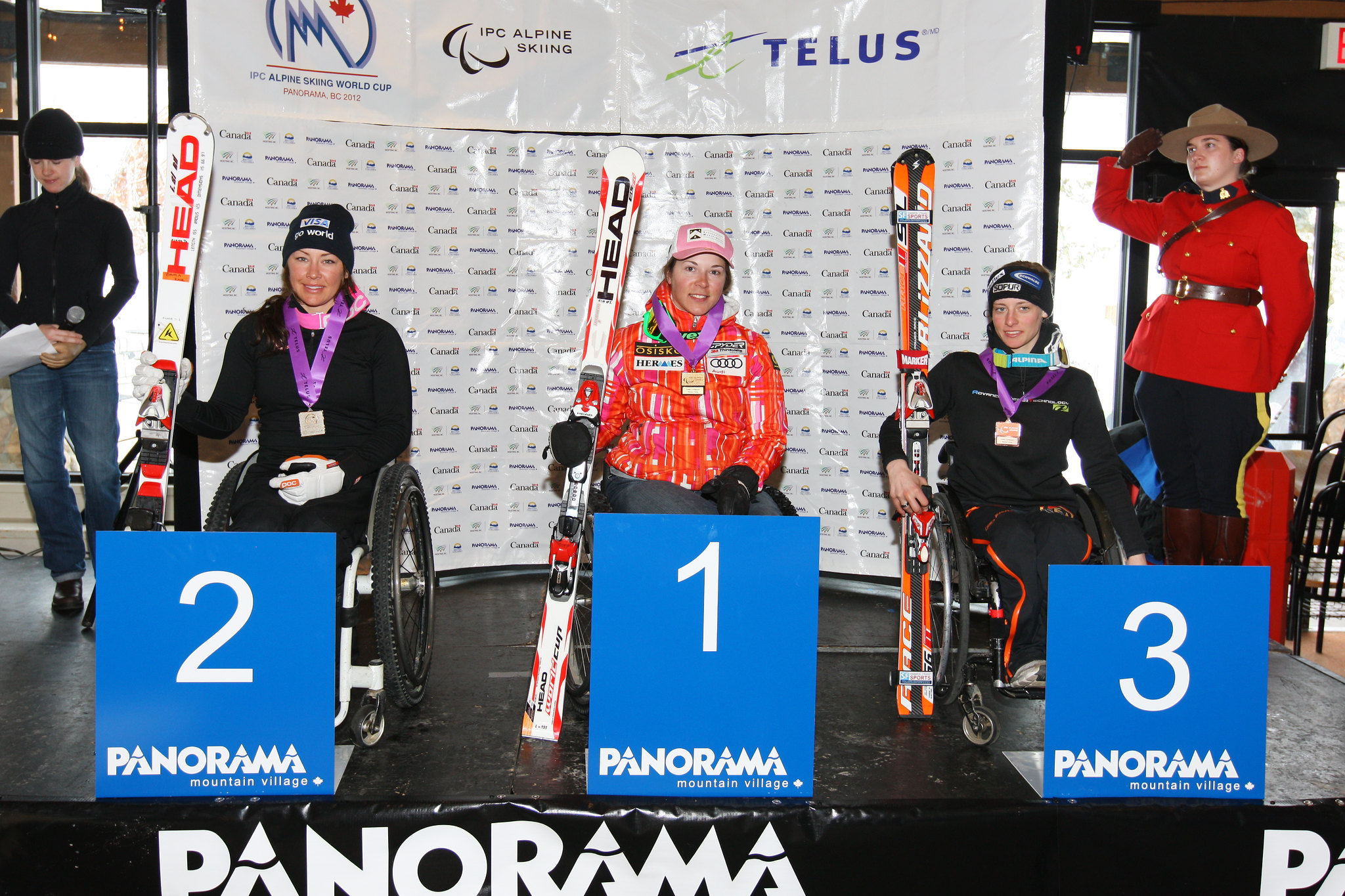 Kimberly Joines on the podium after winning gold in an IPC World Cup super combined in Panorama, B.C.