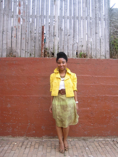 yellow cropped blazer and silk skirt 3
