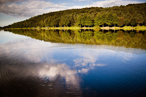 blue sky cloud reflection green nature landscape hungary