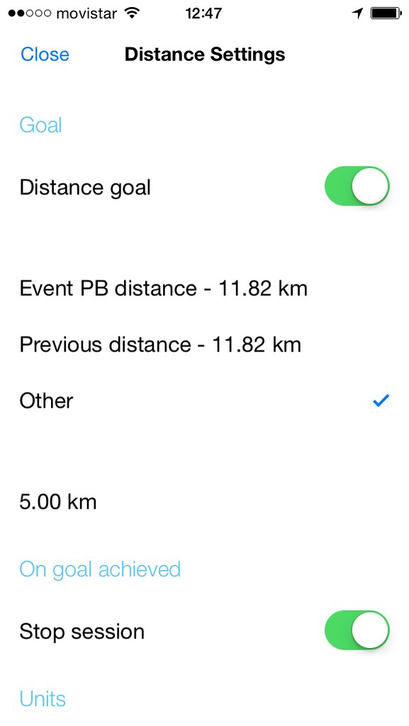 Kinetic goal time settings