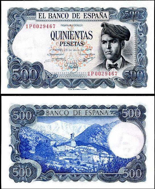 *500 Pesetas Španielsko 1971-3, Pick 153