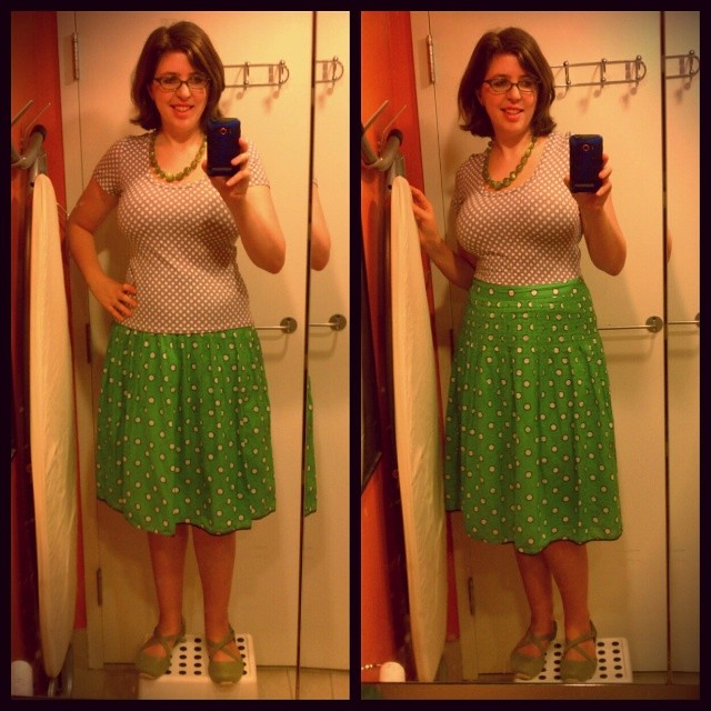 #mmmay14 day 18 Nettie bodysuit by @heatherlou as a top with a thrifted skirt. #nettiebodysuit #sewing #isew