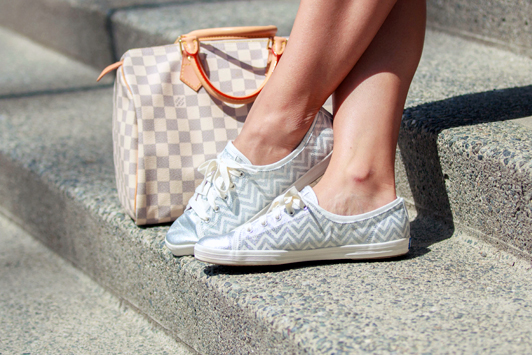 Louis Vuitton Damier Azur Speedy, Keds Rally silver chevron sneakers, Vancouver, fashion, blogger, spring, style