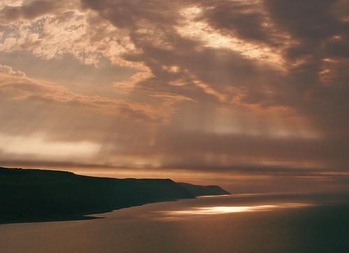 park sunset sea england sun tramonto mare cliffs devon national di rays sole raggi scogliere exmoor scogliera