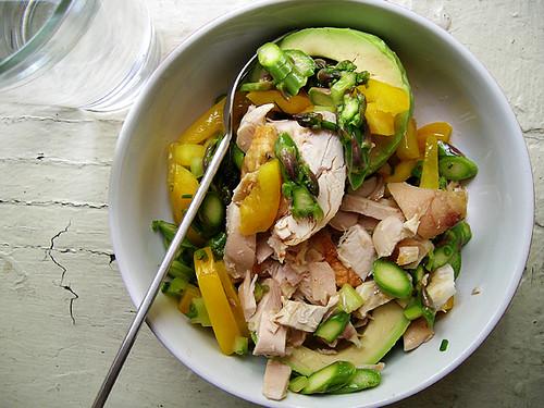 chicken asparagus jar on avocado