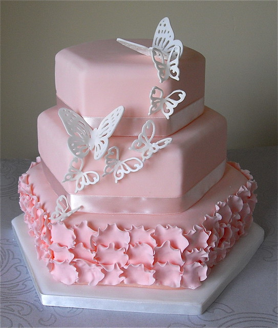 Blush Pink Butterfly Wedding Cake | Flickr - Photo Sharing!