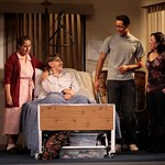 Flora (played by Socorro Santiago) and Eusebio (played by Jaime Tirelli) are visited by a young couple (played by Maria-Christina Oliveras) seeking advice about marriage in the Huntington Theatre Company's production of <i>Boleros for the Disenchanted</i> by José Rivera at the South End/Calderwood Pavilion at the BCA. Part of the 2008-2009 season. Photo: T. Charles Erickson