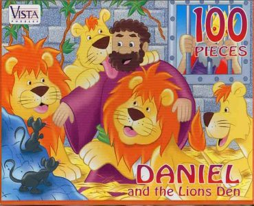 "VISTA PUZZLES :: ""DANIEL and the Lions Den"" - 100 Piece Jigsaw Puzzle { Art by Hatten & Brown } (( 199x ))"