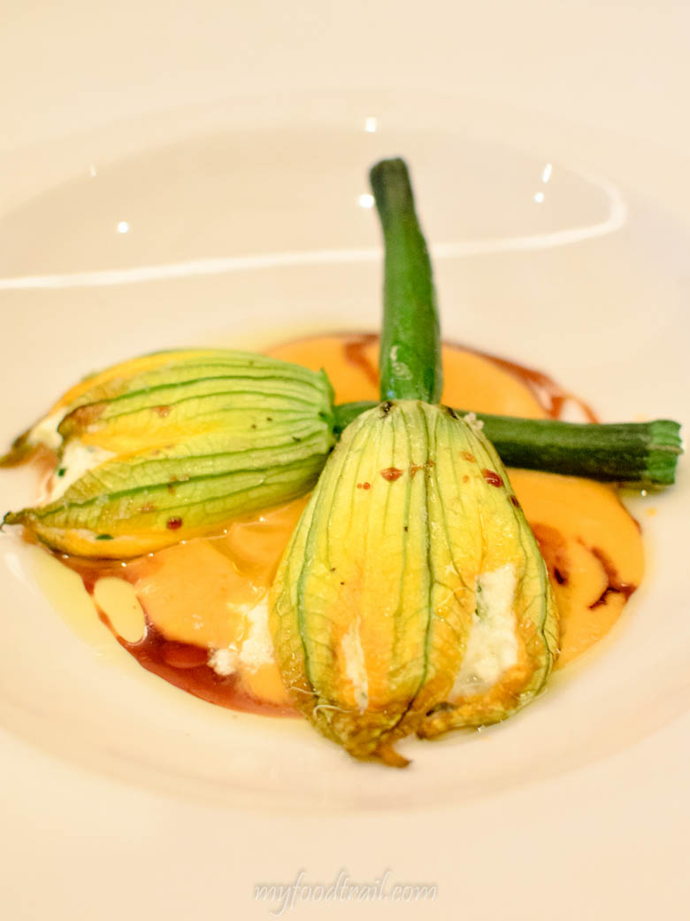 Bottega - Buffalo Ricotta Filled Zucchini Flowers, Tomato & Basil Coulis, Vincotto