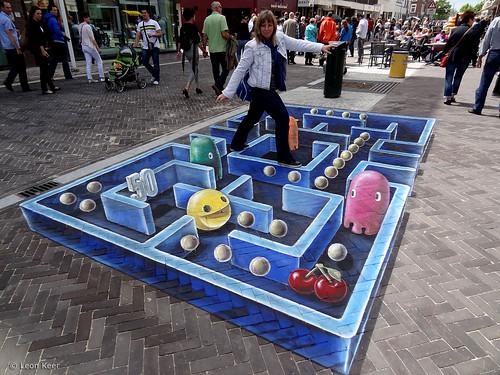 3d street art pacman