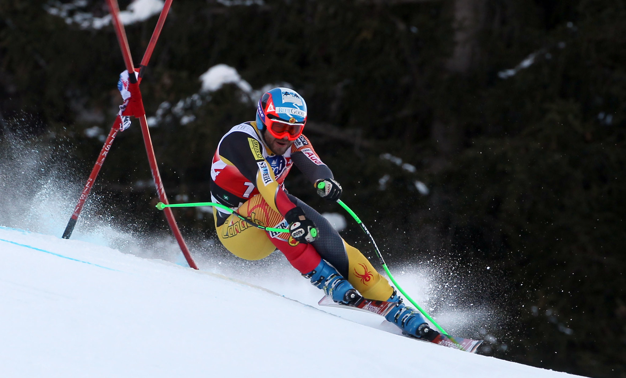 Jan Hudec stays focused in Bormio, Italy, during a World Cup downhill.