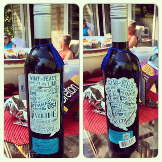 wine bottle with an artistic looking label