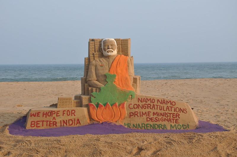 Sand artist Manas Kumar Sahoo congratulate next Prime Minister Mr Narendra Modi sand art