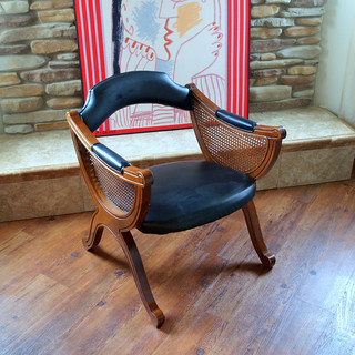 UNIQUE VINTAGE CHAIR > Mid Century > Asian Flair > Black Faux Leather > Wood > Cane > Side Chair > Occasional Chair > Armchair > Seating