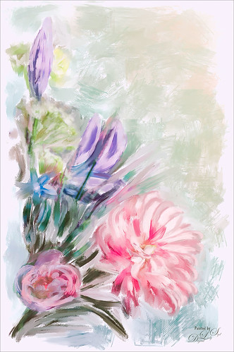 Image of silk flowers post-processed in Corel Painter
