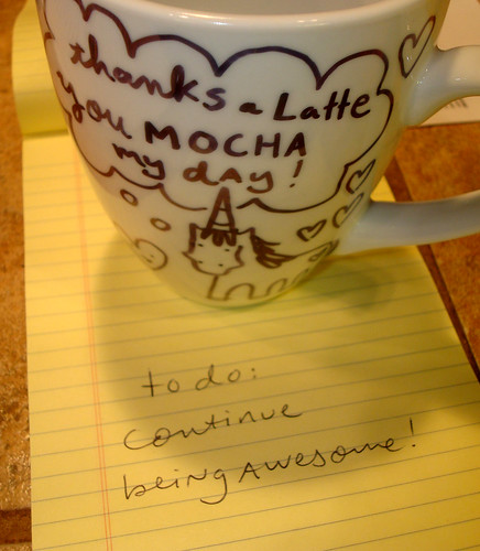 Permanent marker mug