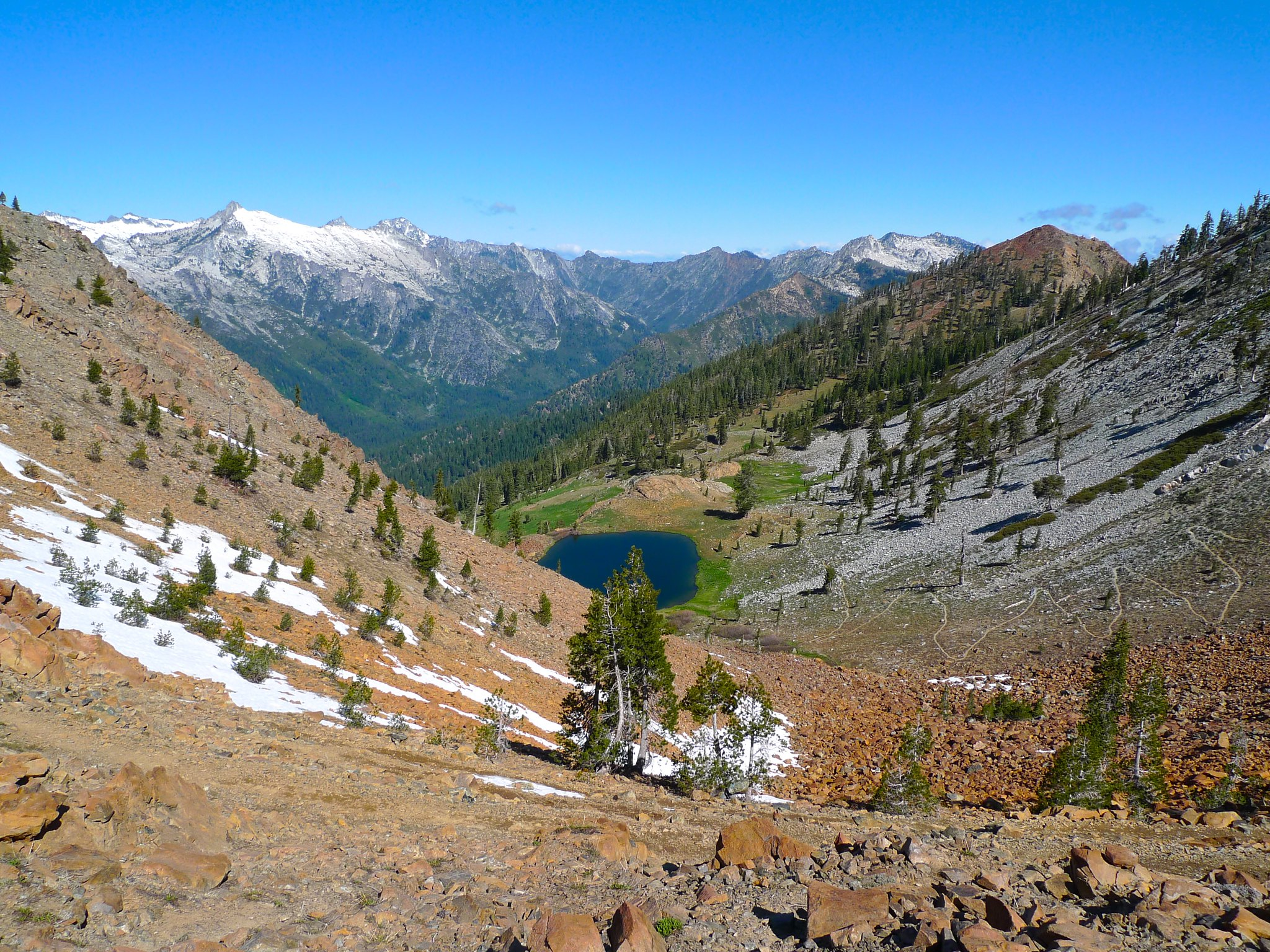 The pass above Diamond Lake offers the first up close views of the White Trinities and Stuart Fork way below.