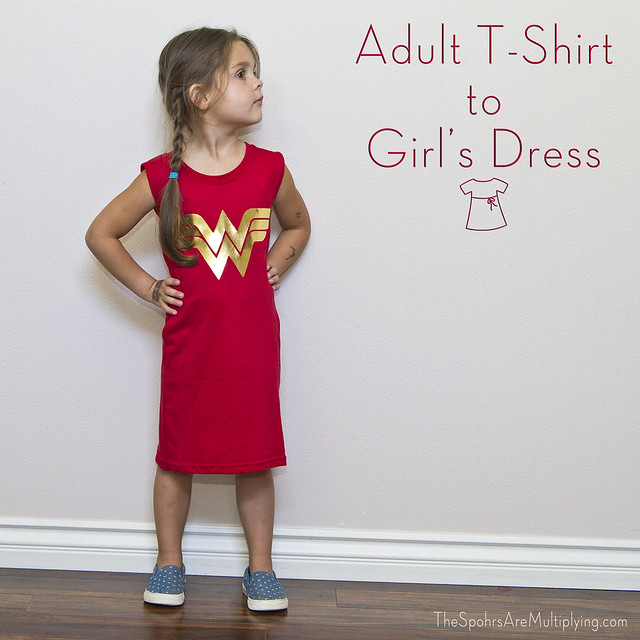 DIY Adult T-Shirt To Girl's Dress