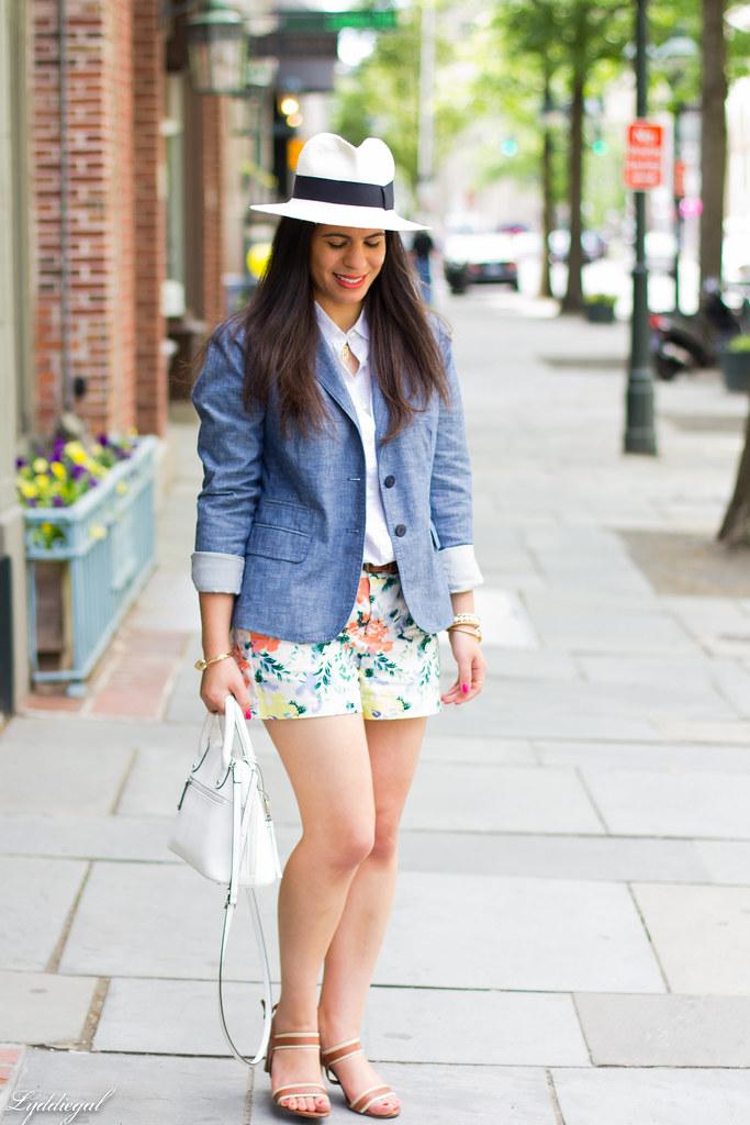 Floral shorts, chambray blazer, panama hat.jpg