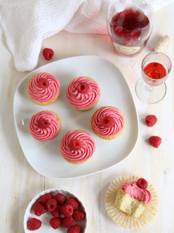 Raspberry Rosé Wine Cupcakes from completelydelicious.com