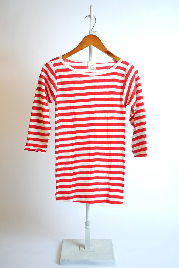 Boatneck 3/4 Sleeve Striped Tee