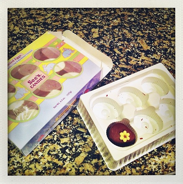 The last of my See's Candy Chocolate Eggs from my Mommy. Hello Mr. Bordeaux, I saved you for last.