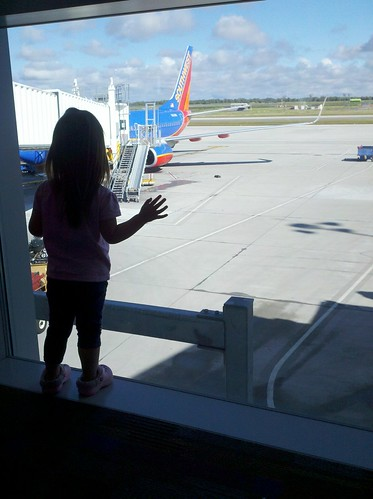 Checking out the plane.