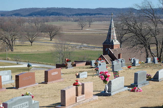 Church of the Risen Savior (Saint Joseph), in Rhineland, Missouri, USA - view of Missouri River flood plain from cemetery