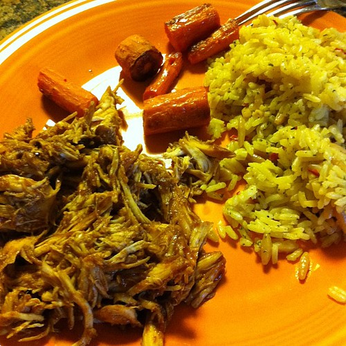 Crockpot BBQ Chicken w/ Rice Pilaf & Roasted Carrots #wfd #badfoodphotography