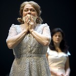 Karen MacDonald as Kate Keller and Diane Davis as Ann Deever in the Huntington Theatre Company production of ALL MY SONS playing at the BU Theatre. Part of the 2009-2010 season.