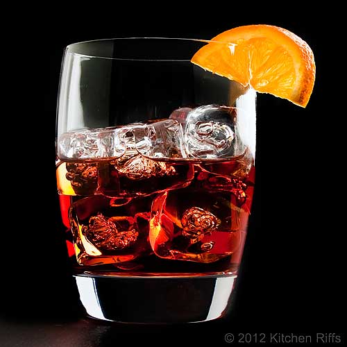 Negroni Cocktail On-the-Rocks with Orange Wheel