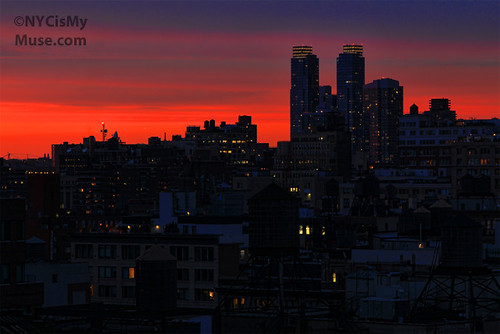 Fiery Sunset over NYC's West Side, and Silver Towers