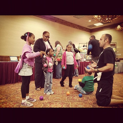Justin in his element inspiring juggling at the expo