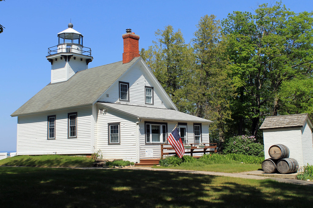 Mission Point Lighthouse. Old Mission Peninsula, Michigan - Wading in Big Shoes