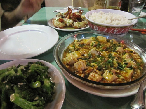 Garlic broccolies, Mapo Tufu (without meat), and garlic lobster
