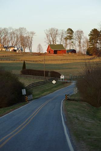 road barn rural landscape northcarolina fields