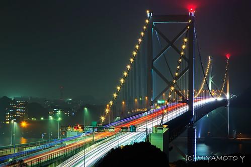 bridge light japan night nightscape trail nightview moji kanmonkyo