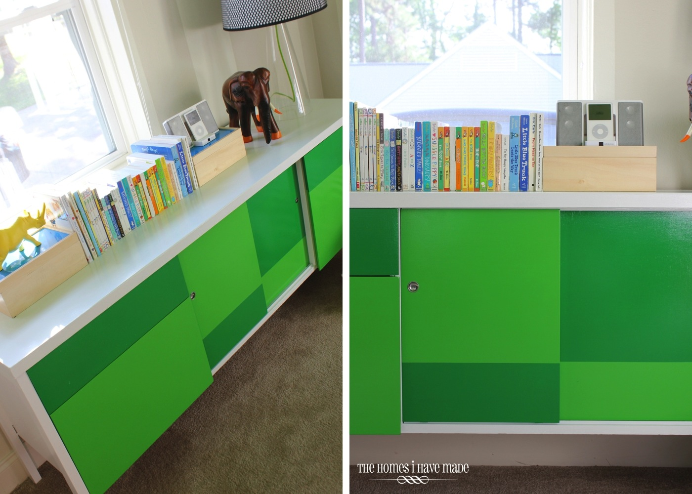 Green Color Block Credenza-009