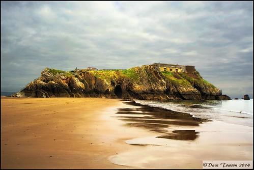 uk sea beach southwales wales coast sand rocks fort coastal pembrokeshire tenby stcatherines