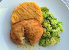 Chicken Kiev, Sweet Potato Mash, Garlic Broccoli