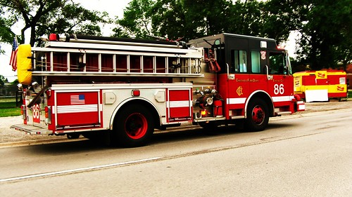 Chicago Fire Department pumper truck # 86 at an emergency site on Forest Preserve Drive..  Chicago Illinois USA. June 2011. by Eddie from Chicago