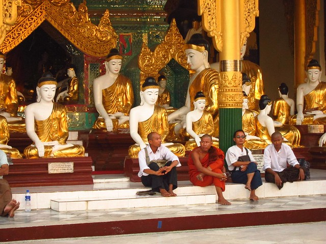 Monks and Buddhas at Shwedagon Paya