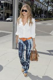 Fergie Tie Dye Jeans Celebrity Style Women's Fashion