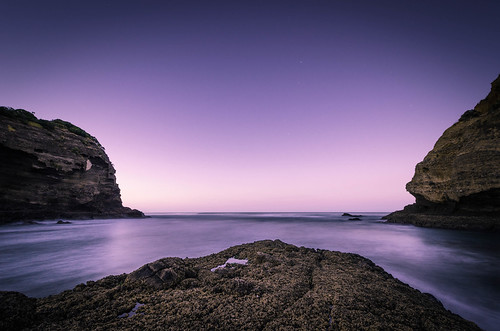 longexposure sea newzealand sky seascape beach water rock sunrise dawn bay coast nikon auckland filter northisland bluehour westcoast bethellsbeach